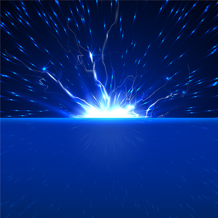 electricity discharge, a flash of light