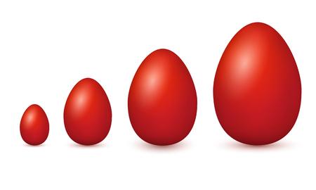 Vector paaseieren. Pasen eieren op witte achtergrond. Set van realistische eieren Stock Illustratie