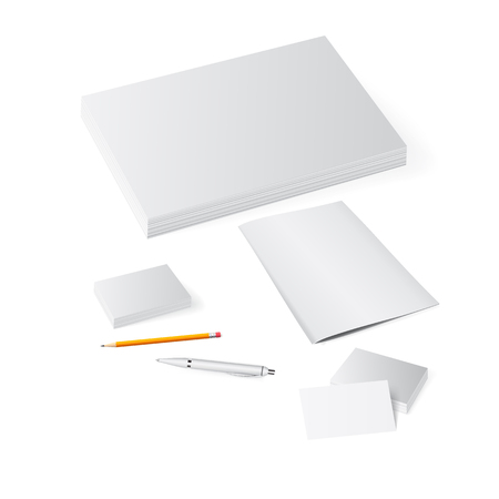 presentation of promotional materials: flyers, brochures, letterheads, 3d illustration