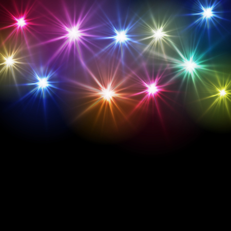 Colorful blinking lights on black backdrop design template.