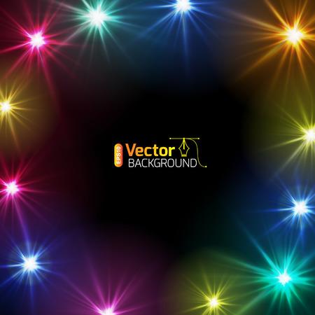 Briefkaart feestelijke lichten, ontwerp kaartsjabloon. Stock Illustratie