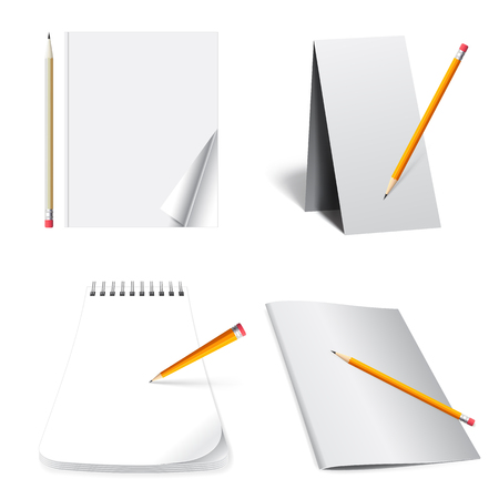 set of office supplies business, paper, folders and pencils with a pen, 3d illustration,