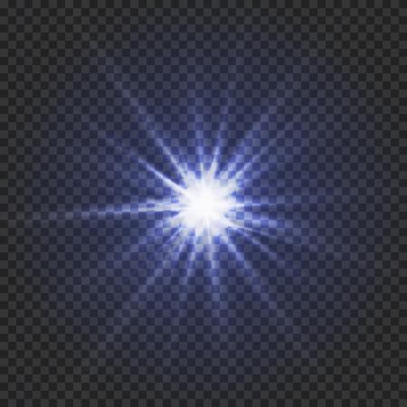 Glanzende blauwe ster op een transparante achtergrond of een gloeiend sterlichteffect, illustratie. Stock Illustratie