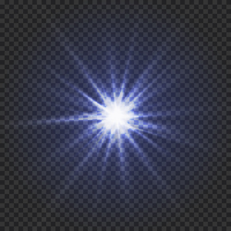 Shining blue star on a transparent backdrop or glowing star light effect, illustration. Illustration