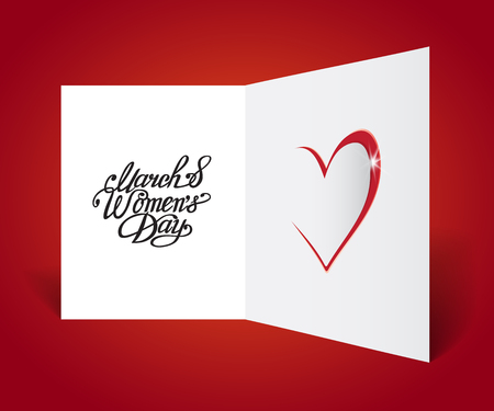 8 March, Happy Women's Day greeting card . Vector illustration.