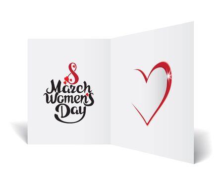 8 maart, Happy Women's Day wenskaart. Vector illustratie.