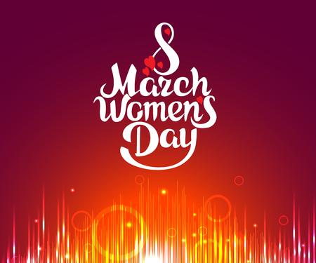 March 8 Women's Day, bright vector card design illustration.