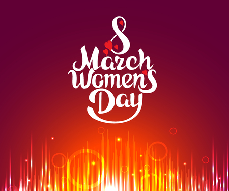 March 8 Women's Day, bright vector card design illustration.