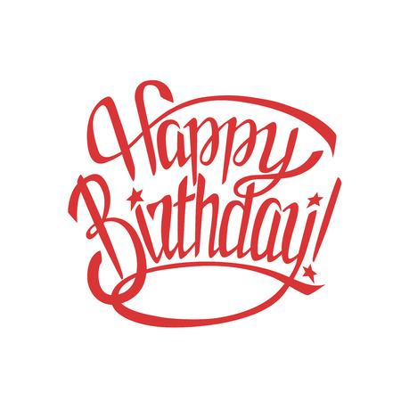 Gelukkige verjaardagswenskaart met kalligrafie op witte achtergrond.