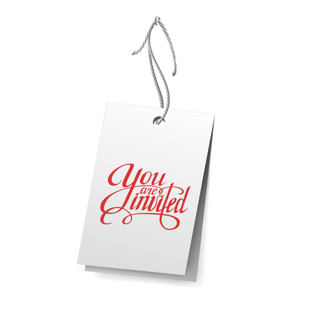 You are invited greeting card with calligraphy on white background.