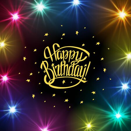Happy Birthday greeting card with calligraphy on white background.