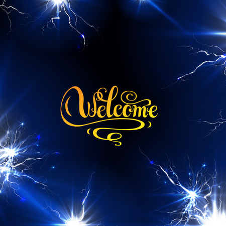 Welcome calligraphy with light effect on blue background.