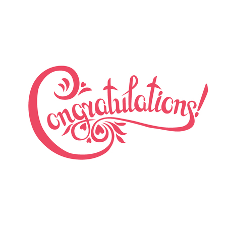 congratulations sign.Hand drawn lettering. Greeting card with calligraphy. Stock Illustratie
