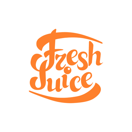 fresh juice sign.Hand drawn lettering. Greeting card with calligraphy. Vectores
