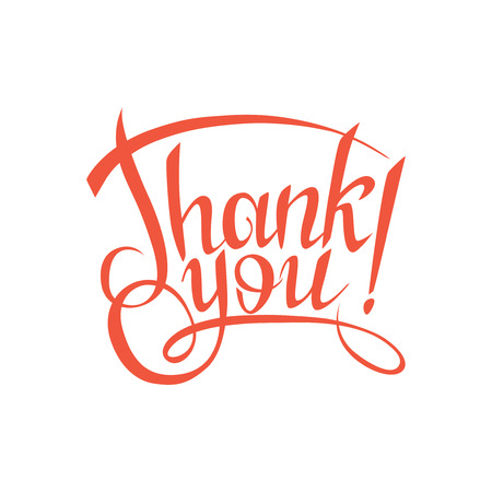 thank you sign.Hand drawn lettering. Greeting card with calligraphy.