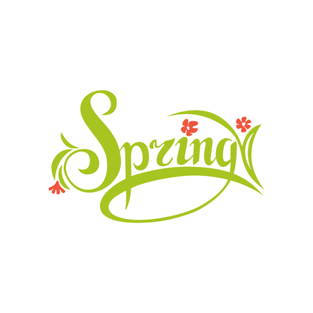 Spring sign.Hand drawn lettering. Greeting card with calligraphy.
