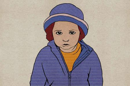 resentful: pop art, child on the cardboard, illustration
