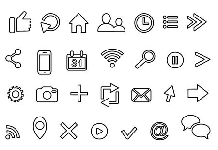 outline icons: clock arrow present calendar email geolocation cloud retweet bubble email rss photo profile home location favorite cross search cursor logo isolated on white