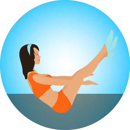 calisthenics: Yoga set. Fitness girl Illustration