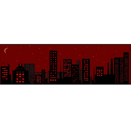 urbanized: The city image. Windows of buildings are represented in the form of the hearts - symbolizing love