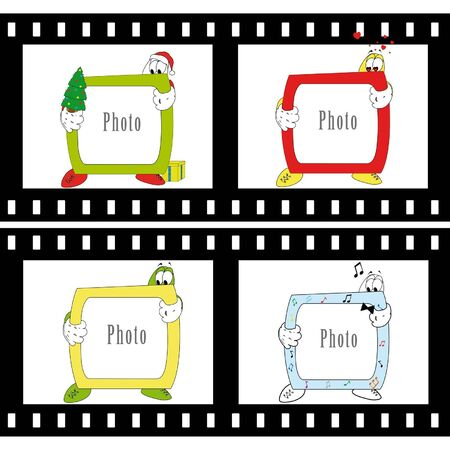 Group of 4 photo frame in different style: new year, love, music. Vector