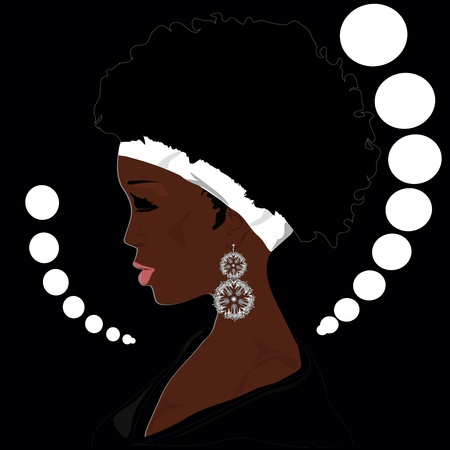 afro girl: African woman with big ear rings Illustration