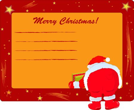 ard: Postcard with Santa Claus, getting a gift Illustration