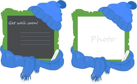 Photo frame with cap, scarf and the thermometer, symbolizing illness