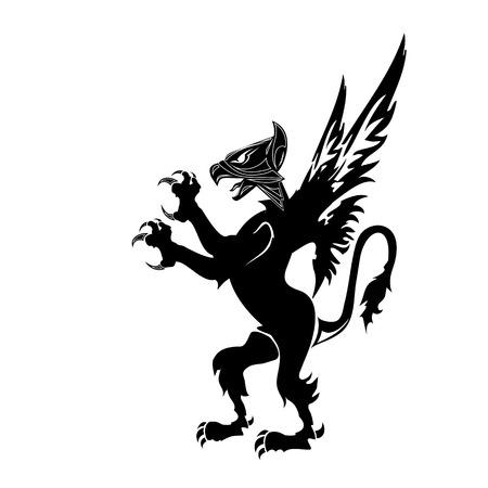 gryphon heraldry silhouette Vector