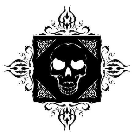 sullen: black tattoo with skull and ornamental