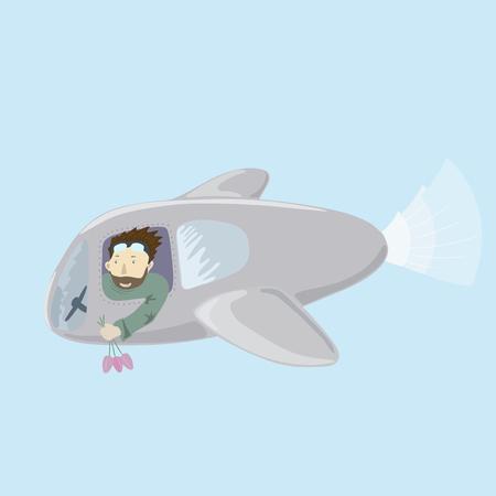 illustration of a pilot flying plane. Illustration