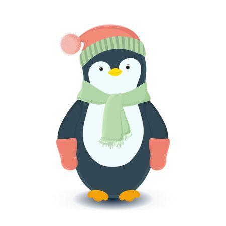 Penguin in winter flat vector illustration