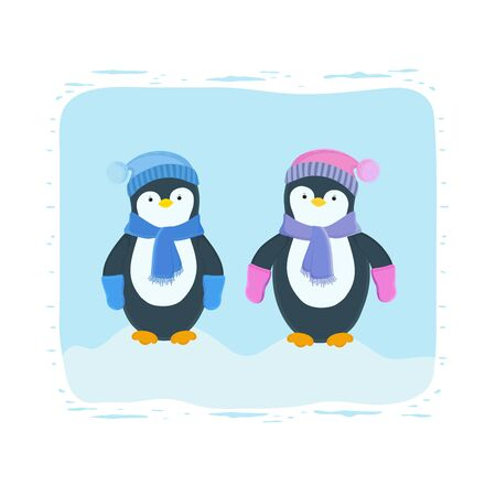 Vector illustration of two baby penguins in winter season, wearing a cap, a scarf and mittens, staying in a snowdrift. Happy New Year. Winter card. New Year card. Print design. Winter character. Illusztráció