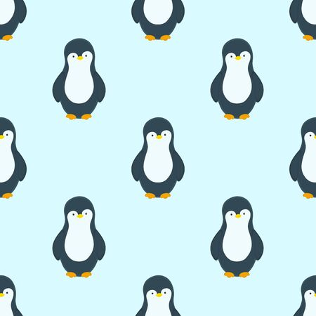 Vector pattern with penguins in winter season. Light blue background. Happy New Year. Winter and New Year print design.