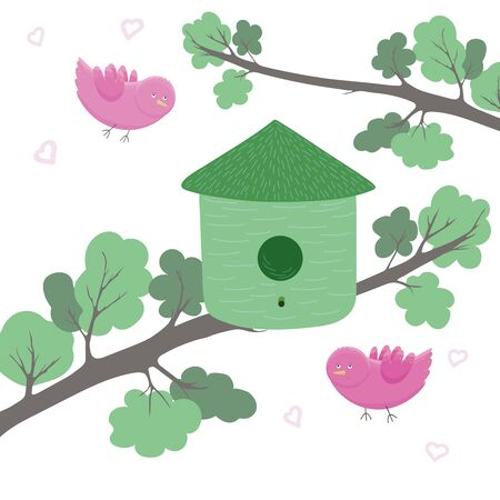Green birdhouse on tree and two pink birds in love on white background. Cartoon style. Birds illustration. Cute bird vector design. Spring design. Valentines day design. T-shirt graphic. Prints, greeting cards, textile art works. Ilustração