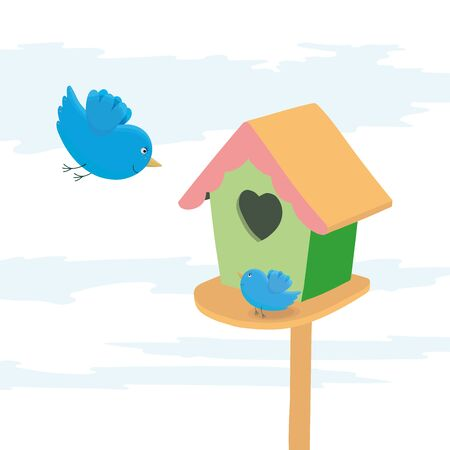 Birdhouse with mother and baby birds