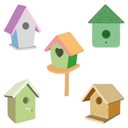 Set of cute birdhouses in different colors on white background. Cartoon style. Birdhouses illustration. Vector design. Vector graphic. Prints, greeting cards, textile art works. Separate layers.