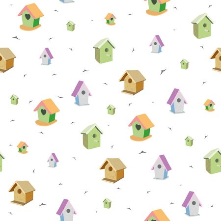 Seamless pattern with birdhouses and birds