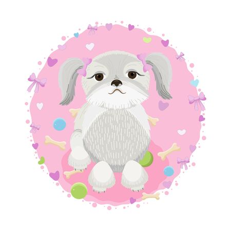 Shih Tzu Dog Illustration with toys and hearts