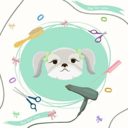 Cute dog at groomer salon. Pet grooming concept. Vector illustration for pet hair salon, styling and grooming shop, pet store for dogs and cats