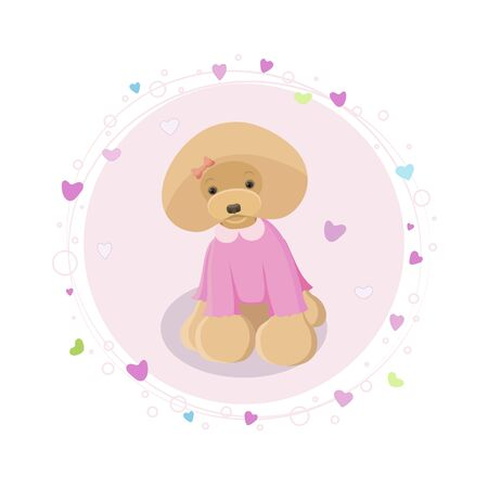 Cartoon red toy poodle illustration with hearts