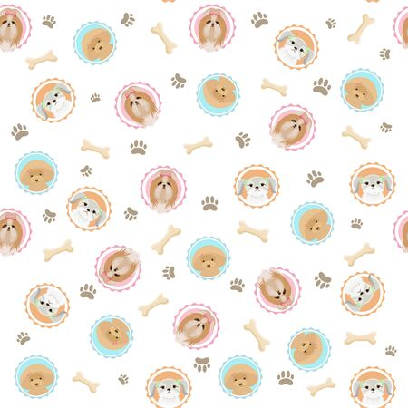 Cute seamless pattern with dogs portraits, bones, dog footprints. Shih tzu, yorkshire terrier, poodle illustrations. Cute dog vector design. Prints, textile, texture. Decorative wallpaper