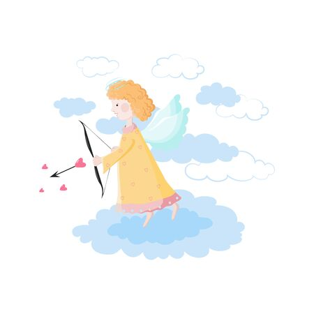 Cute little cupid with bow aiming an arrow isolated on a white background. Vector illustration of an Angel on the cloud symbolizing love.