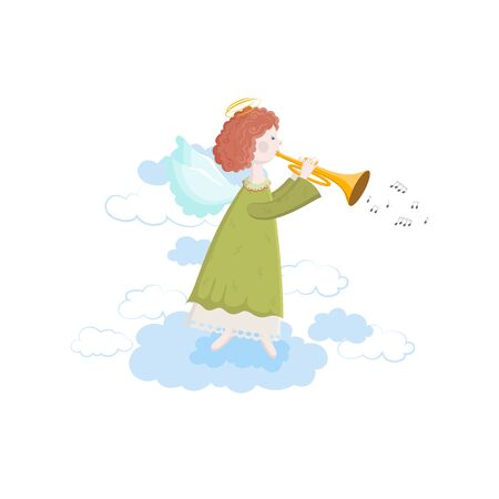 Cute little Angel with trumpet playing music isolated on a white background. Vector illustration of an Angel in the sky with wings and halo waking melodies and songs.