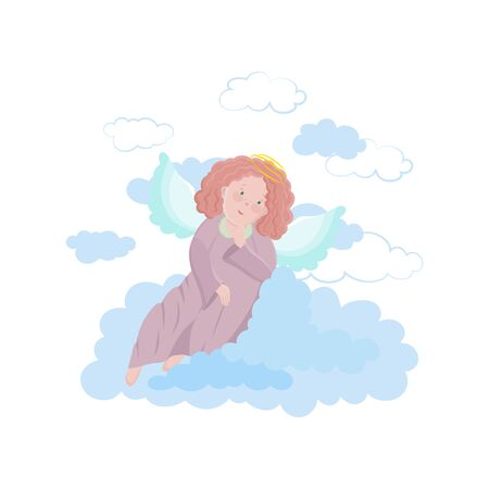 Cute little Angel isolated on a white background. Vector illustration of a dreaming Angel in the clouds with wings and halo.