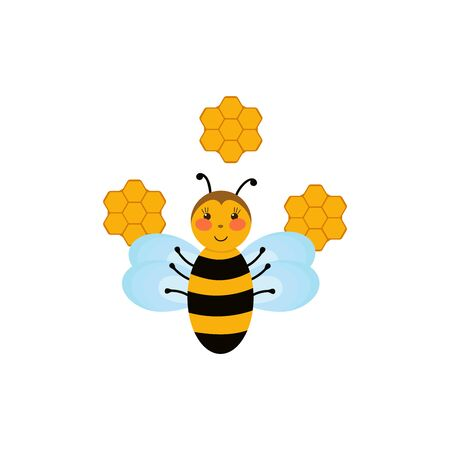 Illustration of a Cute Cartoon Bee with Honeycombs