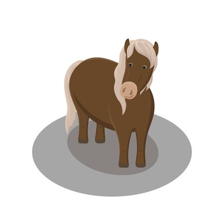 Cute cartoon standing brown horse. Vector hand drawn illustration.