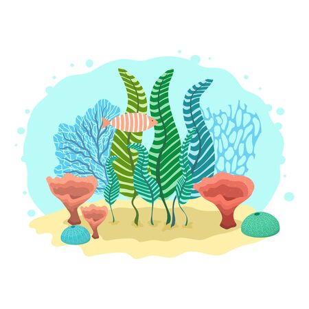 Underwater cartoon scene with corals, algae and fish. Ilustração