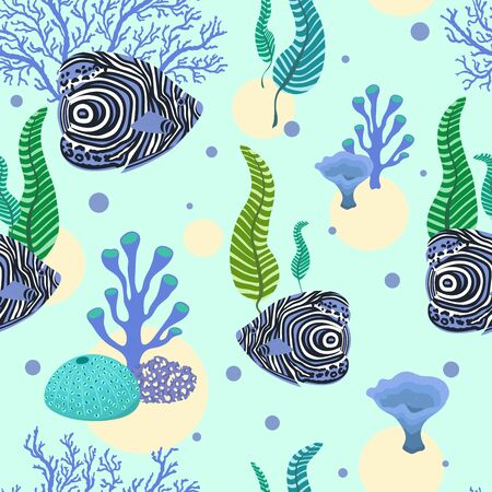 Seamless pattern with tropical exotic fishes, seaweeds and corals. 일러스트