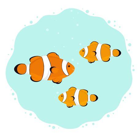 Underwater scene with cute cartoon clown fishes